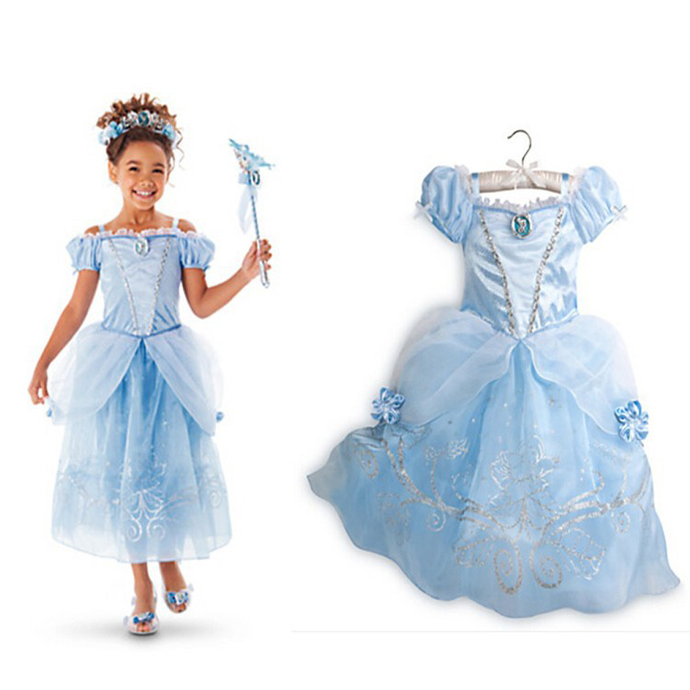 Girls Summer Dresses Kids Cinderella Aurora Rapunzel Belle Princess ...