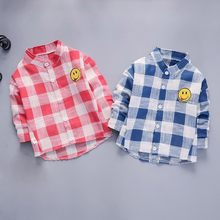 Toddler Baby Girl Boy Cartoon Smile Plaid Tops Clothes Blouse Gentleman Outfits Kids Clothing Kinderkleding(China)