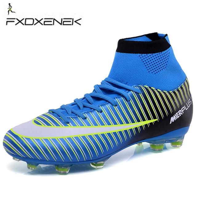 a035632d055a8 Fxdxenek hombres Zapatillas de Soccer Futsal Zapatos con Calcetines  entrenador profesional TF botas de fútbol tobillo
