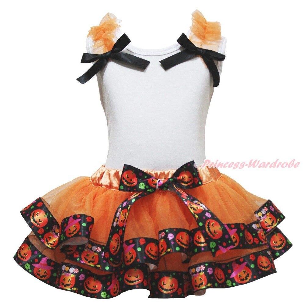 Halloween White Top Ruffle Bow Pumpkin Satin Trim Skirt Girl Outfit Set NB-8Year MAPSA0861 акустика центрального канала heco elementa center 30 white satin