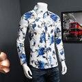 2016 Мужчины Рубашка Мода Весна 5XL-M Мужская С Длинным Рукавом Цветочный рубашка Новый Плюс Размер Slim Fit Повседневная Блузка Мужчины продвижение