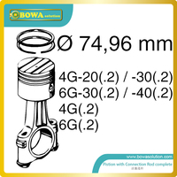 B6 dia.75mm high precision piston with connection rod set for Bitzer 6F serial compressor
