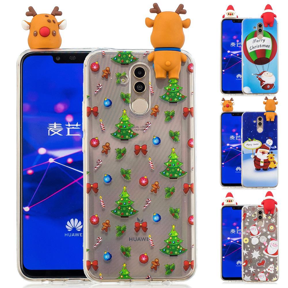Merry Christmas Case Huawei Mate 20 Lite Case Cute 3D Cartoon Soft TPU Case For Huawei Mate 10 Lite Case Silicone Mate 10 Cover