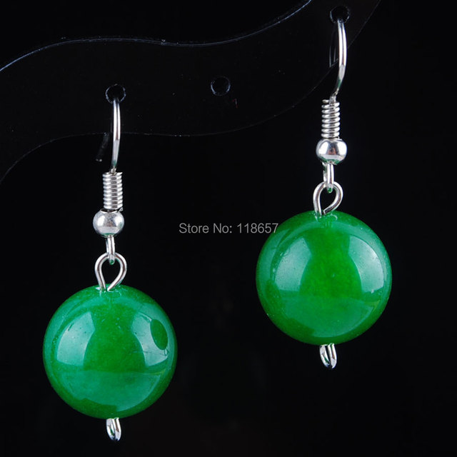 Free Shipping Green Gem Stone Round Beads Earrings Pair Jewelry For Women 1pair Ir3101