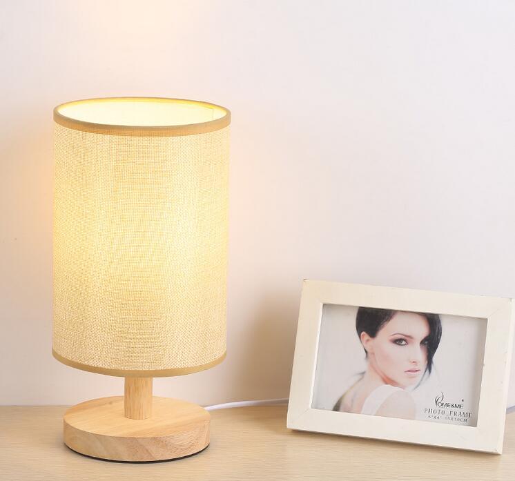 LED small table lamp night light Simple modern bedroom bed decoration wood color remote control creative meja kecil untuk kamar
