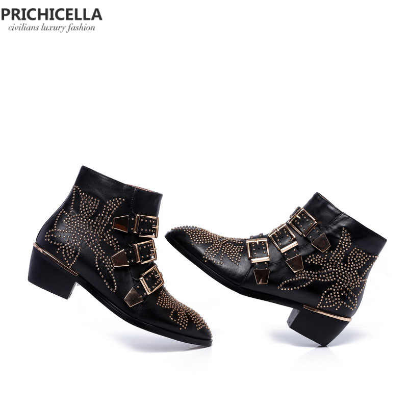 PRICHICELLA hakiki deri kadın altın çivili kayış yarım çizmeler düşük topuk gladyatör başak çizmeler