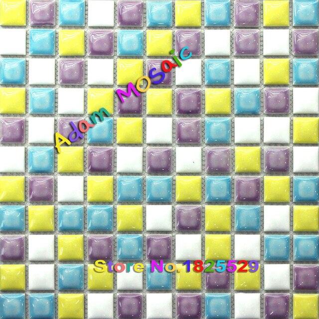Coloured Gl Mosaic Tiles Glazed Multi Color Tile Ceraimc Kitchen Backsplash Mirror Bathroom Wall Sheets Art