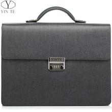YINTE Leather Men's Briefcases Fashion Men Lawyer Handbag Business Solid Zipper Working Bags 15inch Laptop Men's Totes T8032-5