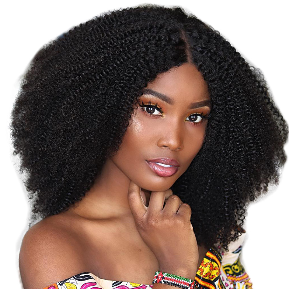 ALIBELE HAIR Afro Kinky Curly Lace Front Human Hair Wig For Black Women 10 24 inch