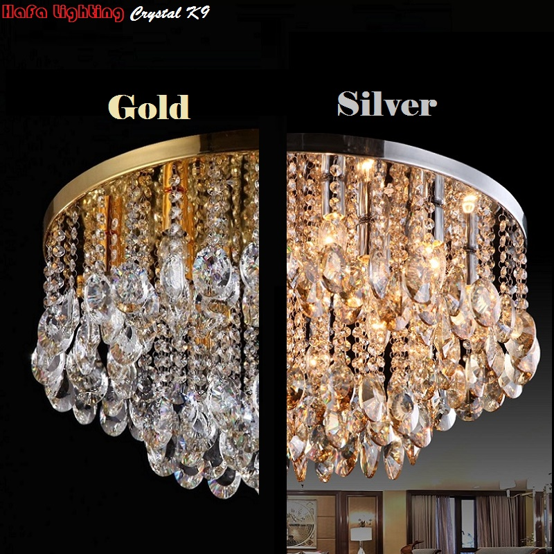 Round Crystal Ceiling Light For Living Room Indoor Lamp luminaria home decoration Crystal Ceiling Light Fixtures For Bedroom-in Ceiling Lights from Lights & Lighting