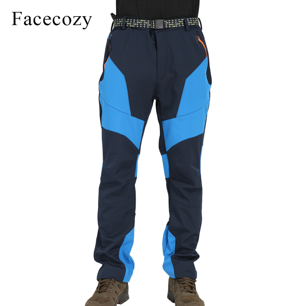 Facecozy Men Winter Fleece Hiking Pants Trekking Camping Outdoor Sportswear Male Patchwork Softshell Trouser Windproof Warm Pant men warm autumn winter softshell hiking pants waterproof windproof outdoor trousers sports camping trekking fishing pants rm044