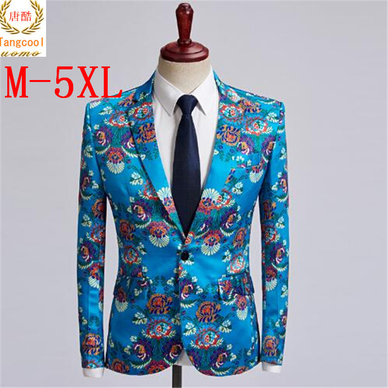 Tang cool brand new lake blue flower suit jacket mens casual wedding host magicians fashionable suit jacket