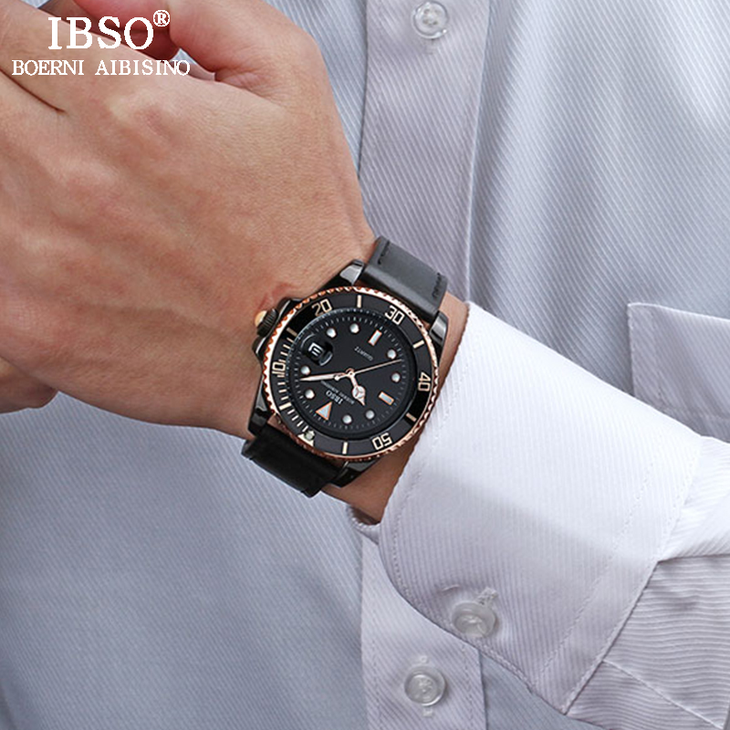 IBSO Mens Leather Watches 2018 Top Brand Luxury Quartz Watch Men's Complete Calendar Clock Waterproof Relogio Masculino #3961 ibso watches men leather strap 2018 top brand luxury men quartz watch complete calendar waterproof clock relogio masculino 3961