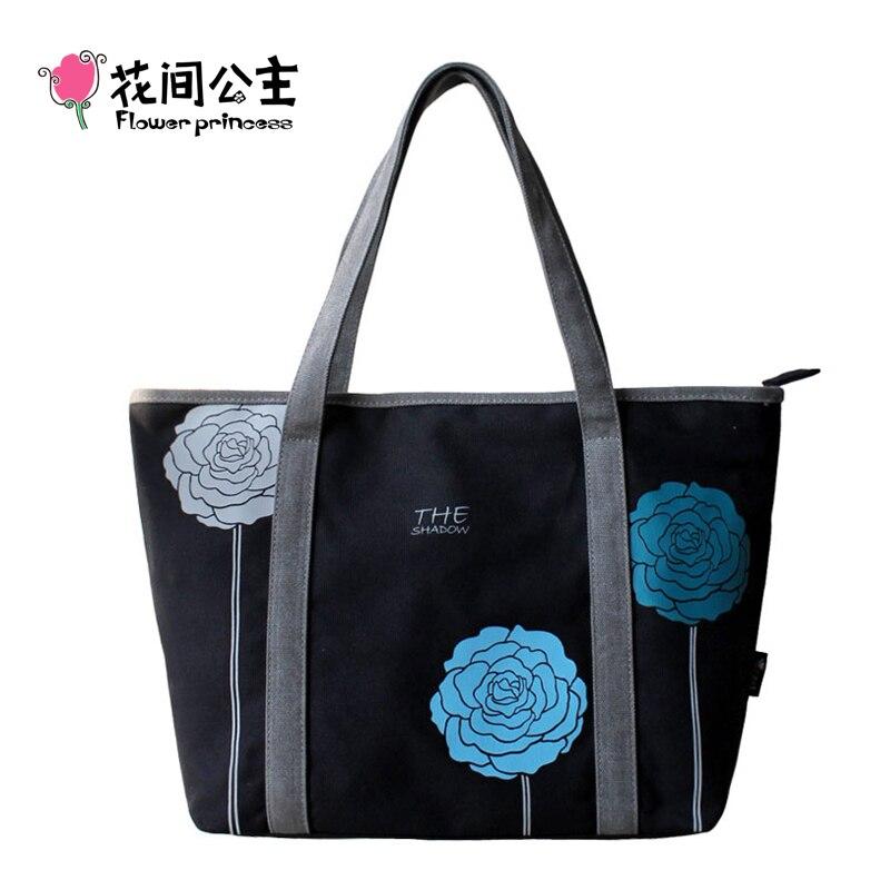Flower Princess Brand Women Canvas Black Tote Bags Winter Ladies Tricolor Flowers Shoulder Bag Girls Fashion School Hand Bags