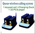 32 Queue call/ Guest Waiting Pager / Wireless Paging System With Charging Dock and Transmitter (Also Available In 16/48 units)