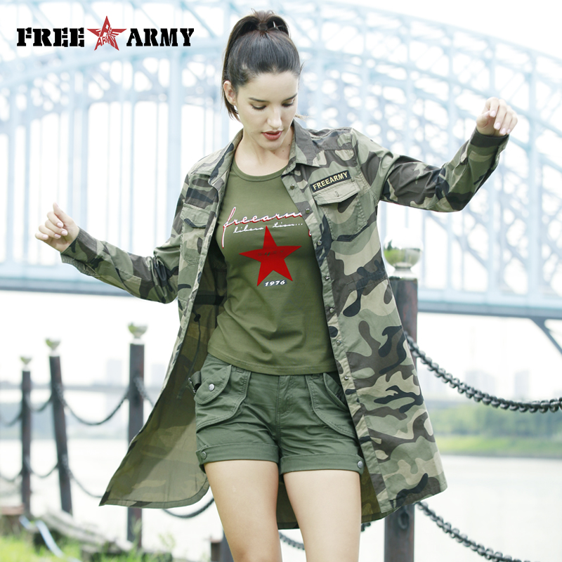 eb3aca01444 FreeArmy Long Sleeve Blouse Shirts Women Military Camouflage Woman Cotton Shirt  Peplum Camo Tops For Female Tunic Top Plus Size