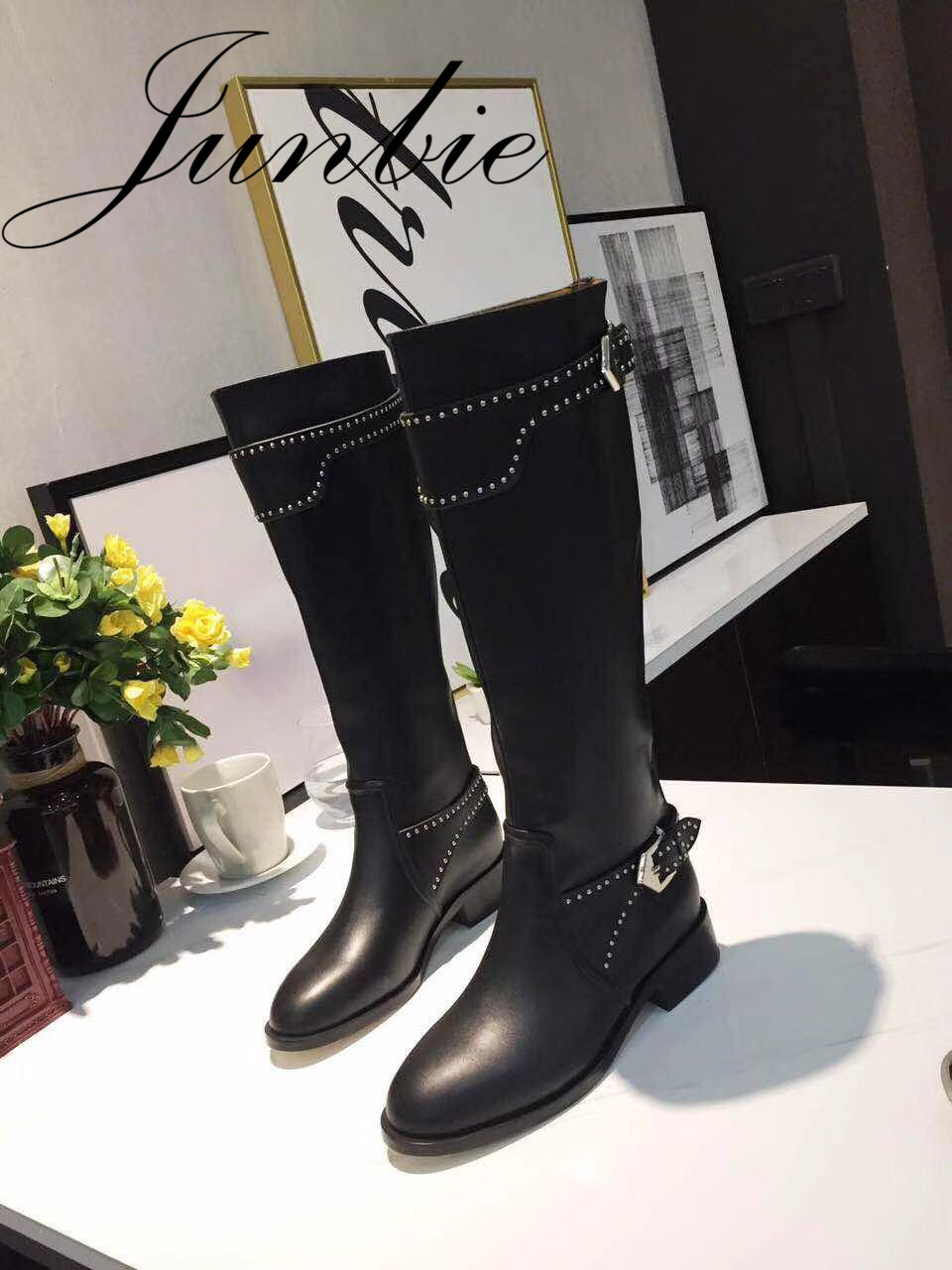 JUNBIE Black New Genuine Leather Metal Studded Women Boots Round Toe Low Heel Women Knee HIgh Autumn Winter Boots Shoes Women jawakye round toe silver chains studded ankle boots women flat heel genuine leather winter shoes motocycle boots for women