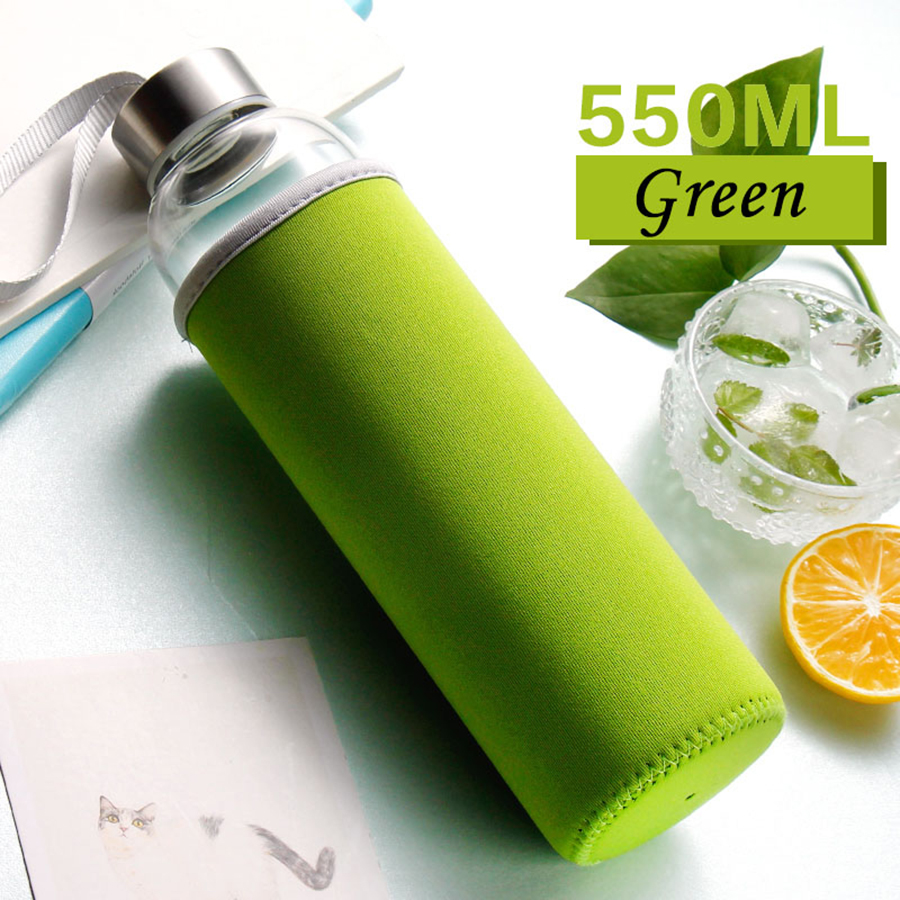 My Water Bottle Printed Glass Sports Bottle Tea Filter Tazas Shaker Safe Leak Proof Designs Portable With Rope QQB130
