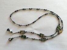 decorative polished abalone seashell and glass seed bead eyeglass chain lanyard