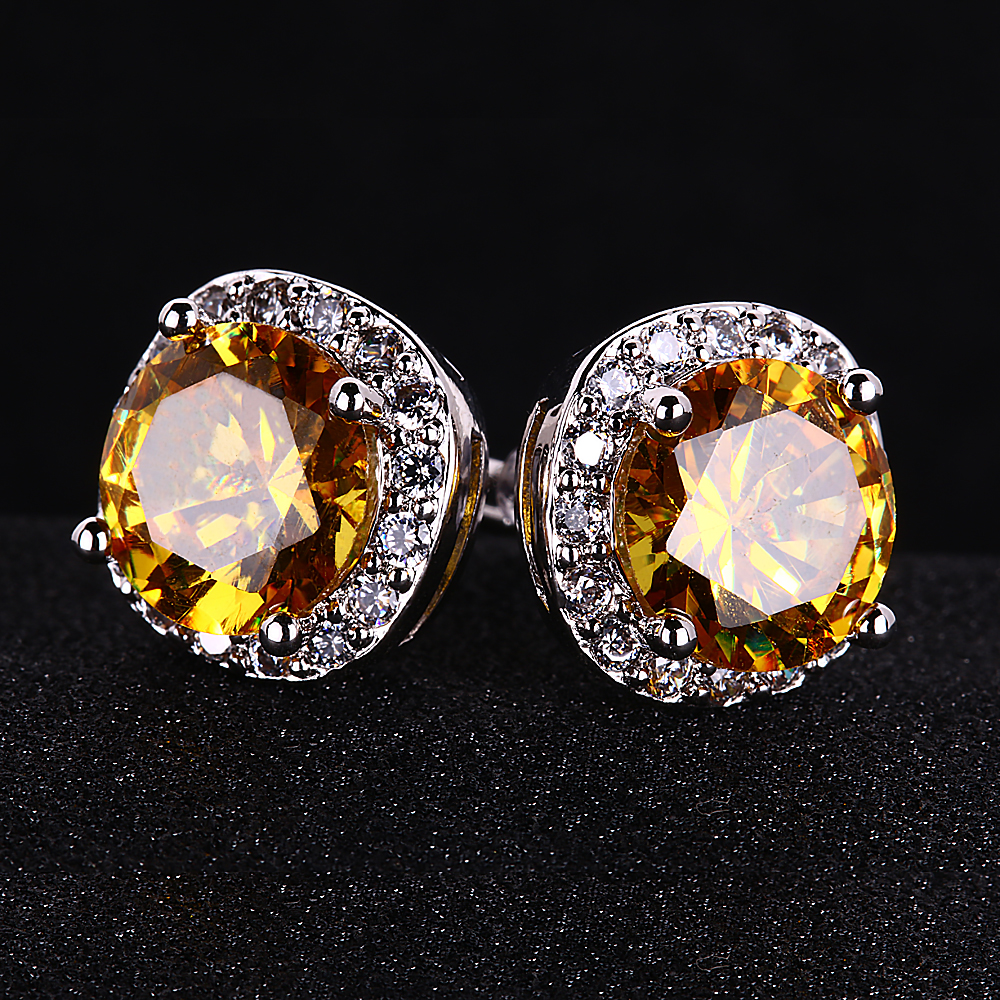 Earings Jewelry Citrine Bulk Tiff Office/career Fashion Party Round Women for Wholesale