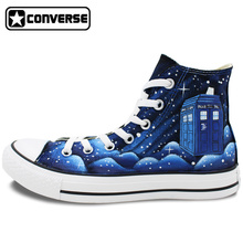 Converse All Star Men Women Design Hand Painted Shoes Galaxy Police Box Unisex High Top Canvas Sneakers for Gifts
