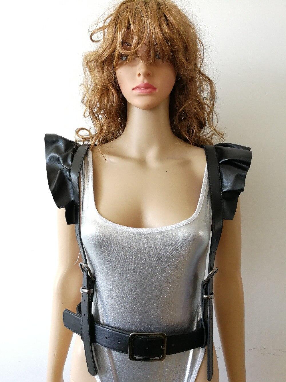New Fashion Style WRB1027 Women Black Leather Harness