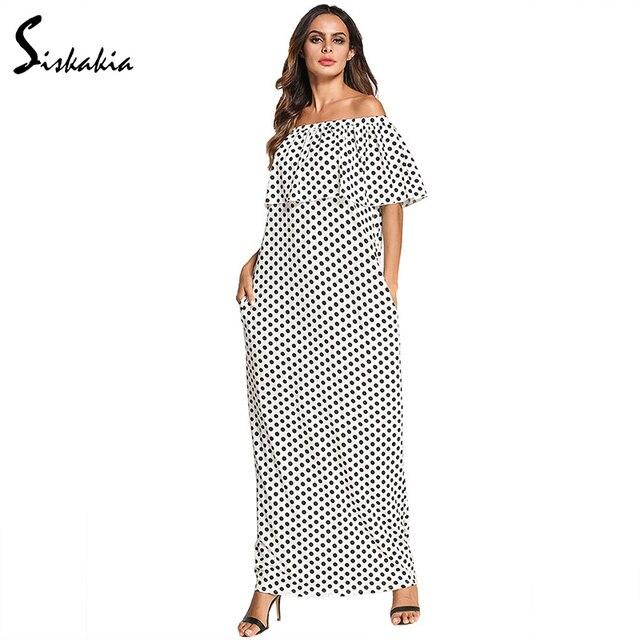 356f99d77eb Siskakia polka dot print long dress women plus size Ruffles off shoulder  Slash neck maxi dresses white urban casual Summer 2018
