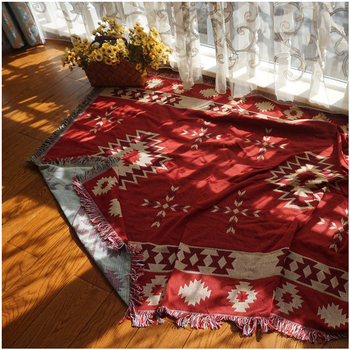 Cotton Rhombus Knitted Sofa Towel Blanket Bohemia Carpet Cover Blankets Living Room Bedroom Rug Soft Carpet Bedspread Sheets