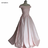 Luxury Beaded Pink Mother Of The Bride Dresses With Flowers A Line Boat Neck Off Shoulder