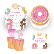 Omilut Baby Shower Girl Donut Party Disposable Tableware Set 1th Birthday Tablcloth/Plates/Cups CupCake