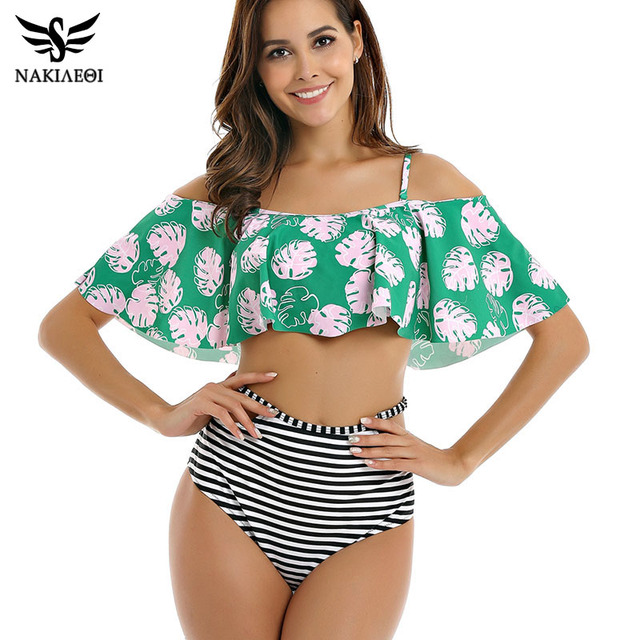 763da2c8357 NAKIAEOI High Waist Swimsuit Push Up Swimwear 2019 New Sexy Bikinis Women  Flower Print Ruffle Bikini Set Beach Wear Bathing Suit