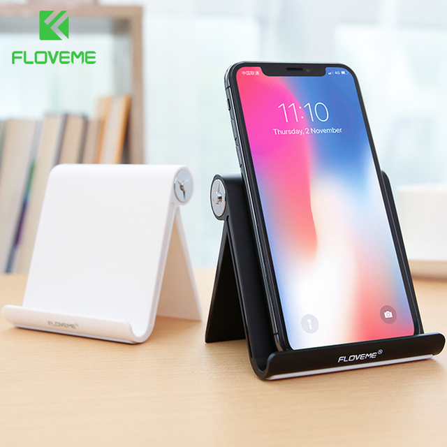 FLOVEME Phone Holder for iPhone X 8 7 6 Universal Desk Mount Holder Stand Cell Phone ABS Adjustable Mobile Phone Holders Support