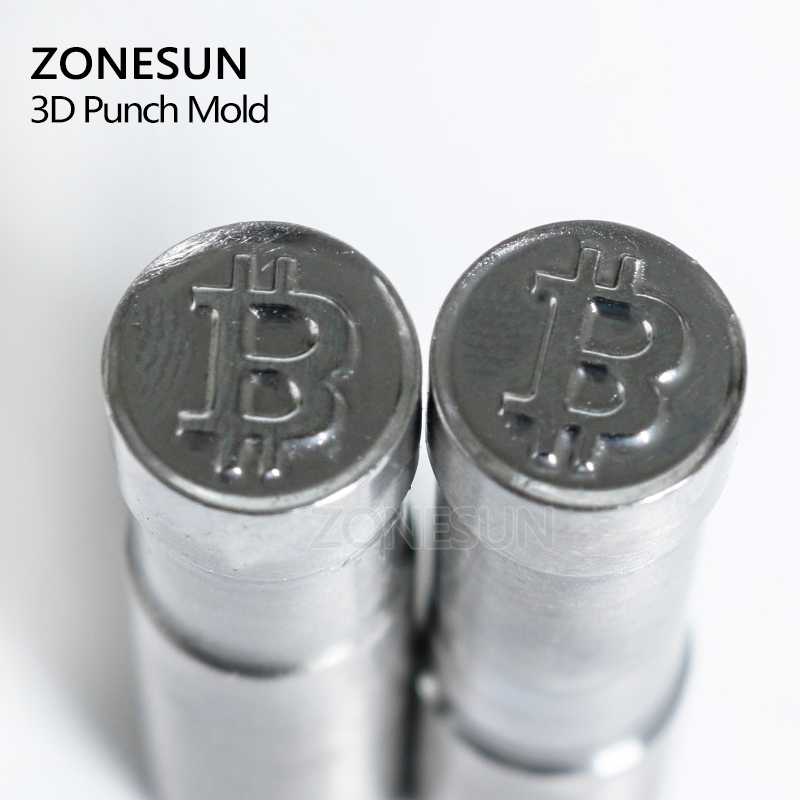 ZONESUN Bitcoin Logo Customized Sugar Milk Candy Stamp Punch Mold Tablet Press Tool Die TDP 0/1.5/3 Stamping Press Mould Machine customized hot foil stamping brass plate customized debossing die cut debossing mould
