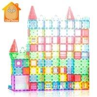 教育玩具 72-98 個磁気タイル Transparentes 磁気コンストラクタのビルディングブロックのおもちゃ子供マグネットゲーム