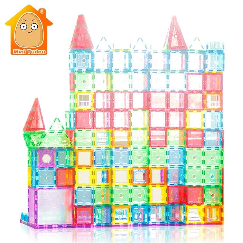 لعبة تعليمية 72 98 PCS المغناطيسي البلاط Transparentes المغناطيسي منشئ ألعاب مكعبات البناء للأطفال المغناطيس لعبة-في مغناطيسي من الألعاب والهوايات على  مجموعة 1