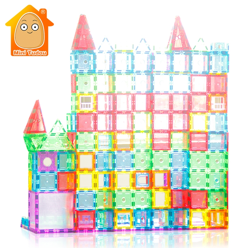 Educational Toy 72-98PCS Magnetic Tiles Transparentes Magnetic Constructor Building Blocks Toys For Kids Magnet Game diy 3d magnetic toys 34pcs building toy silicone magnetic blocks educational toys for kids gift magnetic building strips