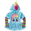 1 UNIDS Nuevo 2016 Chicas Chaqueta de la Capa de Los Niños de Dibujos Animados Lindo Con Volantes hem Hoodies Niños Sudaderas casual chaqueta de cremallera