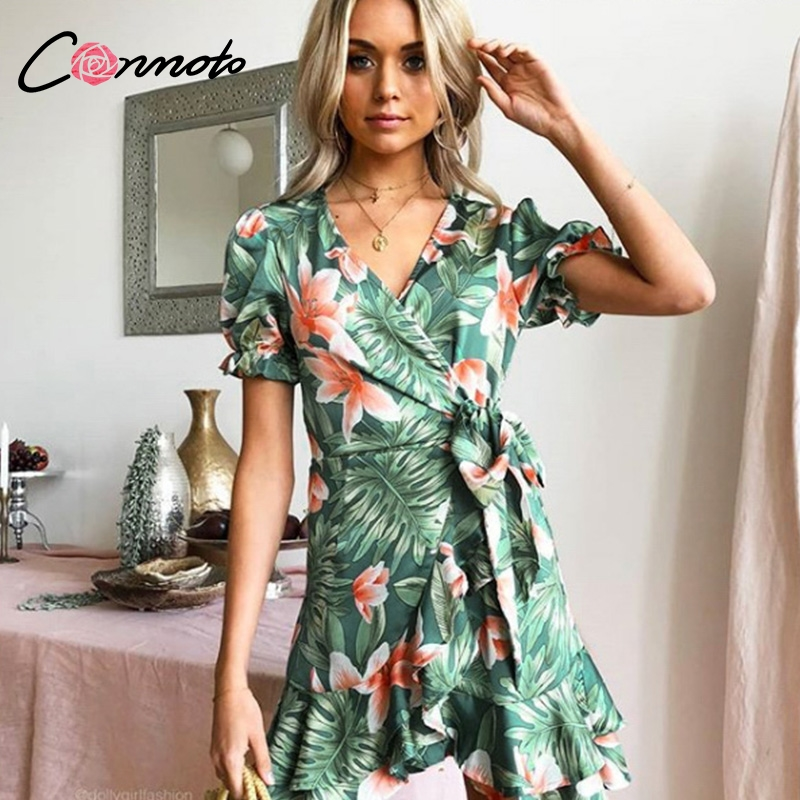 Conmoto Short Sleeve Elegant Women Dress Waist Tie Feminino Dresses Vestido Ruffles Zipper Bohemian Floral Party Dress Vestidos