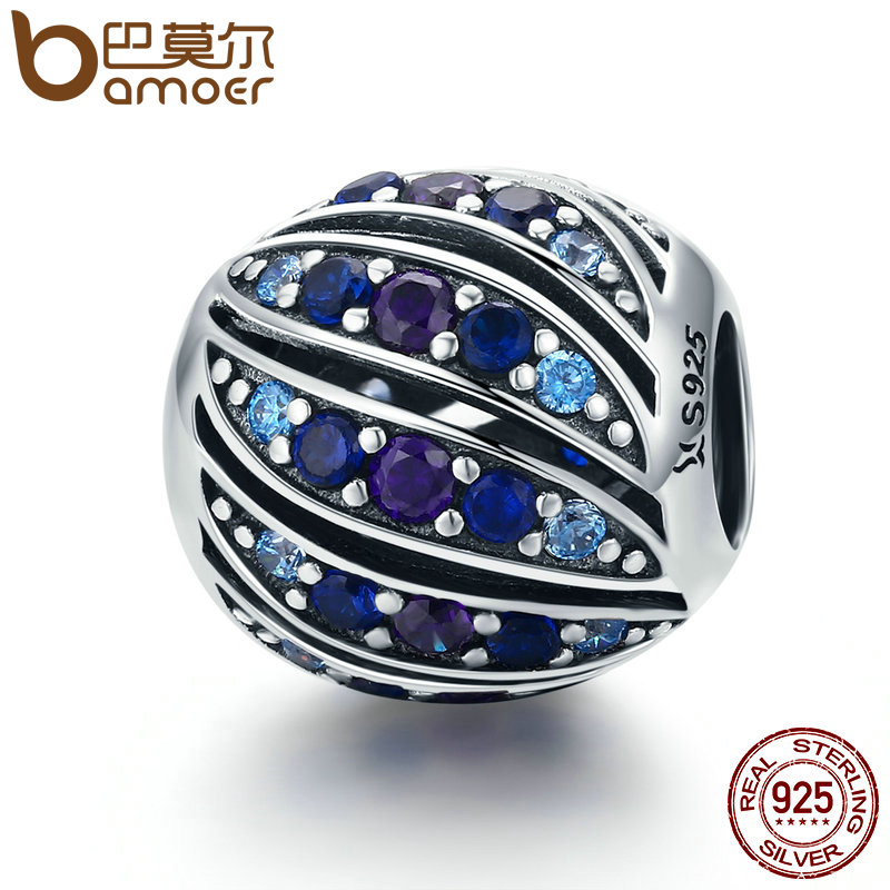 BAMOER Real 100% 925 Sterling Silver Peacock Feather Blue Crystal CZ Charm Beads fit Charm Bracelet DIY Jewelry Making SCC472 bamoer real 100
