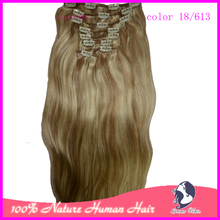 Ring Very soft Can Be Dyed and Bleached 24 inches Natural Straight  Remy  Hair 8Pcs/Pack 120g Clip in Hair Extension 15 colors