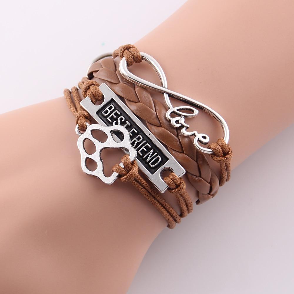 Aliexpress : Buy Little Minglou Infinity Love Pet Paw Charm Dog Bracelet  Best Friend Leather Wrap Men Bracelets & Bangles For Women Jewelry From