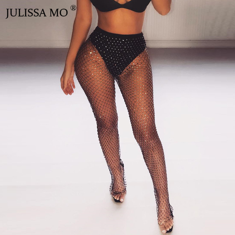 JULISSA MO Sparkly Crystal Diamond Fishnet High Waist Pant Women Sexy Hollow Out See Through Trousers 2019 New Beach Party Pant