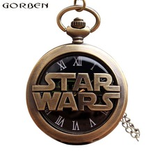 Antique Bronze Star Wars Quartz Pocket Watch Vintage Retro Hollow Metal Case Flip Fob Chain Clock Pendants For Men Women Gifts