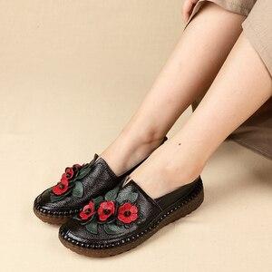 Image 3 - GKTINOO רטרו סגנון עבודת יד עור אמיתי מוקסינים נעלי נשים אביב בוהן עגול אפליקציות רך להחליק על מקרית ליידי שטוח נעליים