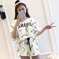 2016 home clothes Women pajamas  Tracksuits Short-sleeve shorts tops Casual Costumes 2 Piece sets pajamas LC044