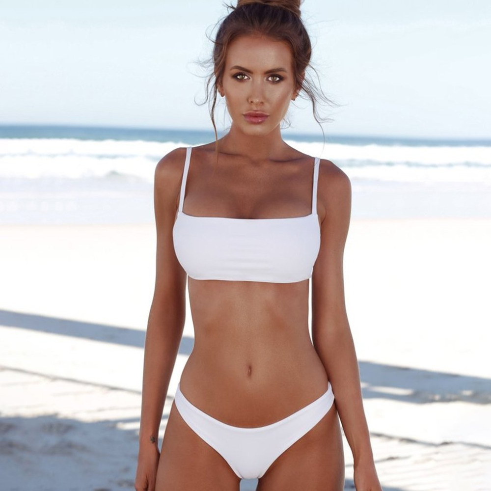 2018 Sexy Bikini Set Push Up Top Vintage Women Swimwear Solid Color Swimsuit Bikini Beach Bathing Suits Swim Wear Costumes