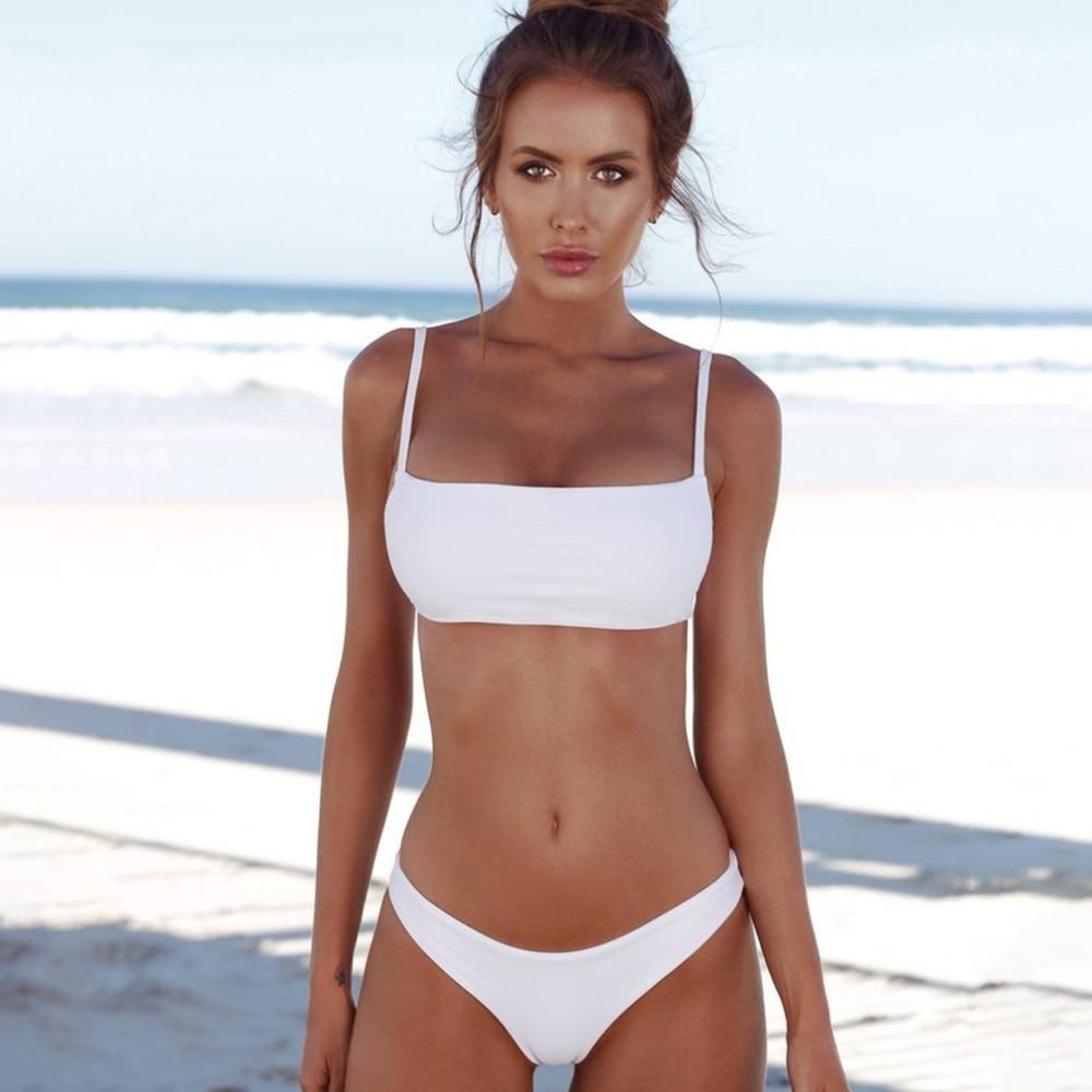2018 sexy bikini set push up Top mujeres vintage bañadores Baño de color sólido bikini playa baño Trajes Swim wear trajes