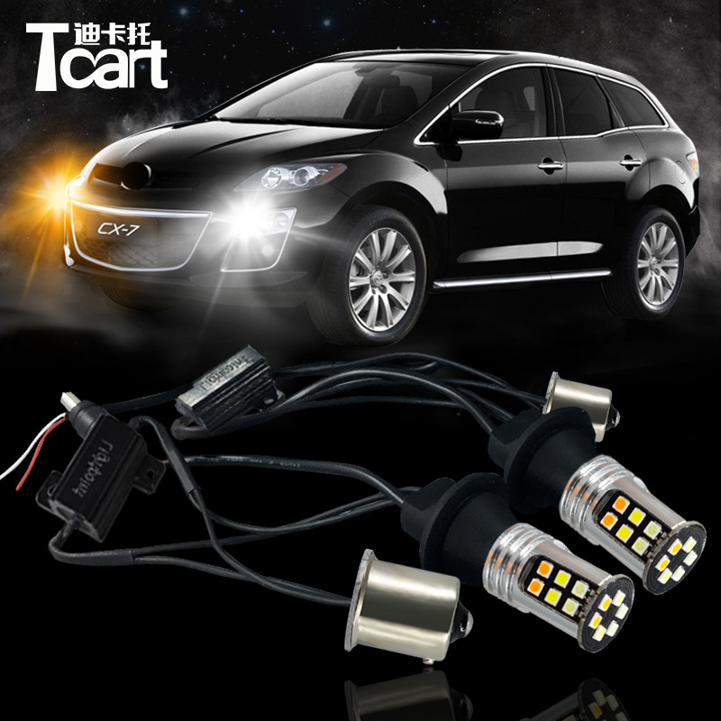 Tcart Car LED DRL&Turn Signal Light bulb for Mazda CX-7 accessories 2010-2017 auto LED daytime running light 3030high power chip