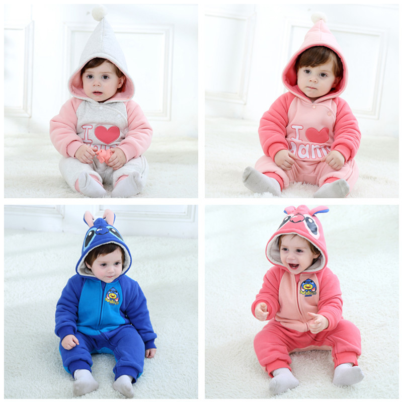 New winter newborn 6-32 months warm Flannel Baby Hooded Rompers,Cute Cartoon Design Rompers for girls and boys