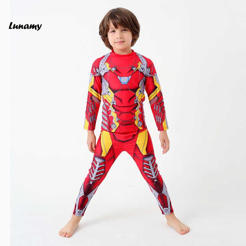 bc63720f38 2018 Handsome Children/Kids Swimwear Iron Man Print Long Sleeves Trousers  Two Piece Swimwear For